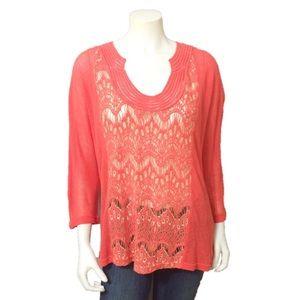 XCVI Burnt Orange Crochet Sweater